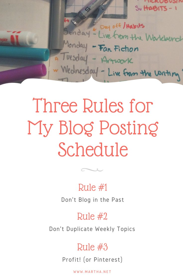 Three Rules for My Blog Posting Schedule