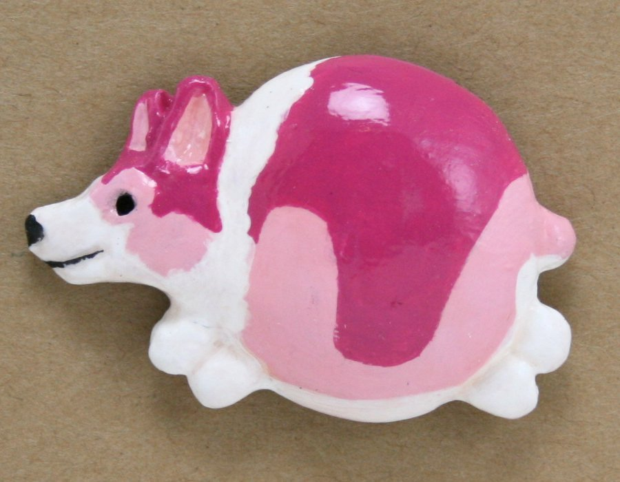 Fat Corgi Magnet #006 – Magenta and Pink Tricolor